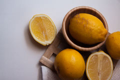 Vitamin lemons on plate Royalty Free Stock Photo