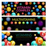 Vitamin complex of dietary supplement 3d banner. Vitamin and mineral complex 3d banner of dietary supplement and medicines. Multivitamin pill and capsule in Royalty Free Stock Images
