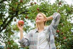 vitamin och bantamat sunda tänder hunger fruktträdgård trädgårdsmästareflicka i äppleträdgård Lycklig kvinna som äter Apple arkivfoto
