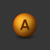 Vitamin A Orange Glossy Sphere on Dark Background. Vector Royalty Free Stock Photography