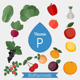 Vitamin P or Bioflavonoids infographic Royalty Free Stock Images