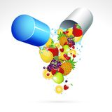 Vitamin Pill. Illustration of fruits coming out from vitamin capsule Royalty Free Stock Image