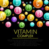 Vitamin pill 3d poster for health care design. Vitamin pill complex 3d poster. Capsule or drop of vitamin C ascorbic acid , A retinol , PP nicotinic acid , D and Royalty Free Stock Photos