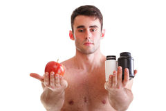 Vitamin or pills drag tablet boxes supplements Man isolated Stock Image