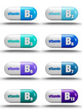 Vitamin pills. Isolated on white background B complex Royalty Free Stock Photography