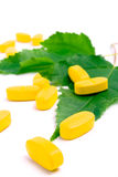 Vitamin pills over green leaves Royalty Free Stock Images