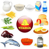 Vitamin a and plant and animal products Stock Image