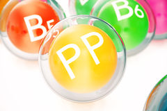 Vitamin PP , isolated on white background. Symbol of health and longevity, 3d rendering Stock Photo