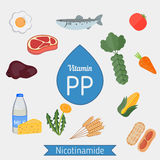 Vitamin PP or Nicotinamide infographic Stock Images
