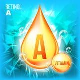Vitamin A Retinol Vector. Vitamin Gold Oil Drop Icon. Organic Gold Droplet Icon. Liquid. For Beauty, Cosmetic, Heath. Promo Ads Design. Drip 3D Complex stock illustration