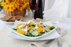 Vitamin salad with pink wine Royalty Free Stock Photography