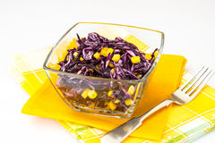 Vitamin salad with red cabbage and corn Stock Photo