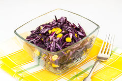 Vitamin salad with red cabbage and corn Royalty Free Stock Photo