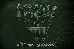 Vitamin shopping, buying fruit and vegetables Royalty Free Stock Image