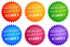 Vitamin sources. Badges with sources of the most common vitamins Stock Photos