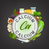 Vitamin Stamp Banner. Calcium banner. Beautiful vector illustration with caption lettering and top foods highest in calcium  on a dark grey background. Useful Stock Photography