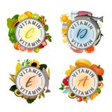 Vitamin Stamp Banner. Vitamin banner. Beautiful vector illustrations with caption lettering and top foods highest in different vitamins isolated on a light Royalty Free Stock Images