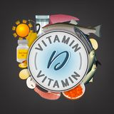 Vitamin Stamp Banner. Vitamin D banner. Beautiful vector illustration with caption lettering and top foods highest in vitamin D  on a dark grey background Stock Photos