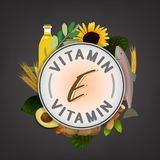 Vitamin Stamp Banner. Vitamin E banner. Beautiful vector illustration with caption lettering and top foods highest in vitamin E  on a dark grey background Royalty Free Stock Images