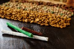 Vitamin sticks for cat or dog - pet vitamin sticks. Vitamin sticks for cat or dog - pet vitamin sticks Stock Photos