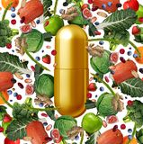 Vitamin Food Supplement. Vitamin supplement and food nutrition pill as a natural nutrient pill with vegetables fruit nuts and beans inside a pharmaceutical Stock Photo