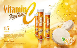Vitamin tablet ad. Vitamin tablet with golden juice elements, 3d illustration Royalty Free Stock Photography