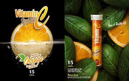 Vitamin tablet ad. Vitamin tablet with orange and leaf elements, black background 3d illustration Royalty Free Stock Photo