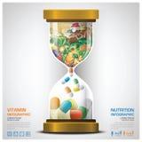 Vitamin und Nahrungs-Lebensmittel mit Sandglass Infographic Lizenzfreie Stockfotos