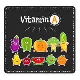 Vitamin a vegetables and fruits. Healthy food illustration. Vegetable and fruit characters. Vitamin a vegetables and fruits. Healthy food vector illustration Stock Photos