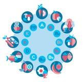 Vitamin wheel. Infographocs with set of flat icons royalty free illustration