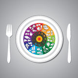 Vitamin wheel on plate. Vector illustration of vitamin wheel with foods on plate Stock Photos