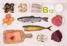 Vitamina B12 que contém alimentos Imagem de Stock Royalty Free