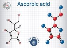 Vitamina C do ácido ascórbico Fórmula química e molec estruturais ilustração stock