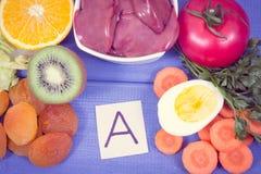 Vitamina A contenente di cibo nutriente, nutrizione sana come minerali di fonte e fibra immagine stock libera da diritti