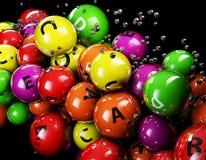 vitamina 3d multicolorido em um fundo preto Imagens de Stock