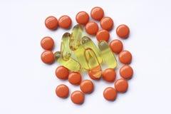 Vitamina ed olio di pesce Fotografia Stock Libera da Diritti