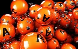 vitamina multicolorido da bola 3d em um fundo preto Foto de Stock