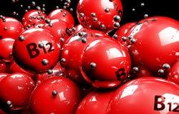 vitamina multicolorido das bolas 3d em um fundo preto Foto de Stock Royalty Free