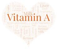 Vitamina A in una nuvola di parola di forma del cuore Royalty Illustrazione gratis