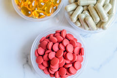 Vitamina y fondo del suplemento Imagen de archivo