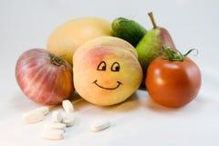 Vitaminas de la fruta y de los veggies Imagen de archivo libre de regalías