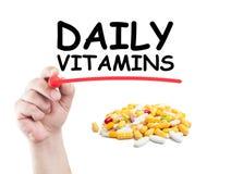 Vitaminas diarias Imagen de archivo libre de regalías