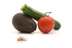 Vitaminas e alimentos frescos Foto de Stock