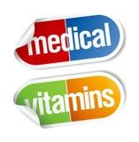 Vitaminas, etiquetas engomadas de las píldoras. Imagen de archivo libre de regalías
