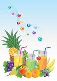 Vitaminas, frutas e suco Imagem de Stock