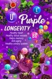 Vitaminas, longevidade e alimento saudável ilustração do vetor