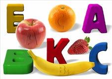 Vitaminas y frutas Foto de archivo libre de regalías