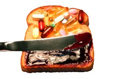 Vitamine auf Brot Stockbild