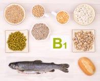 Vitamine B1 die voedsel bevatten royalty-vrije stock afbeeldingen