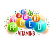 Vitamine, bannière minérale de complément alimentaire sain illustration de vecteur